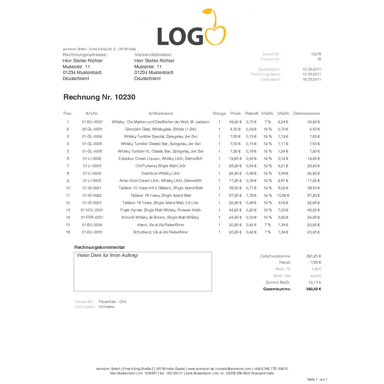 magento pdf rechnung modul rechnungsmail mehrwertsteuer trennen eigenes design aromicon agentur. Black Bedroom Furniture Sets. Home Design Ideas
