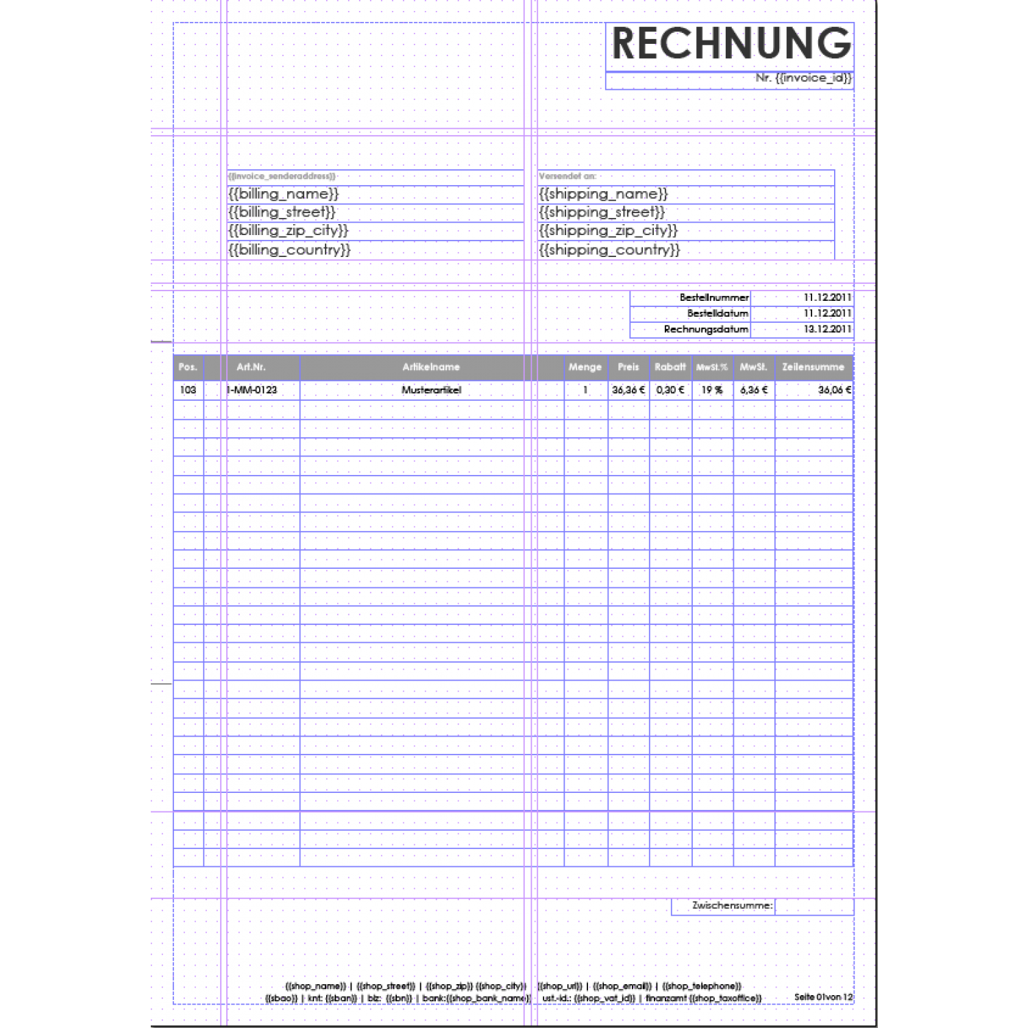 invoice pdf pro windowinvoice rechnungstemplates aromicon agentur. Black Bedroom Furniture Sets. Home Design Ideas