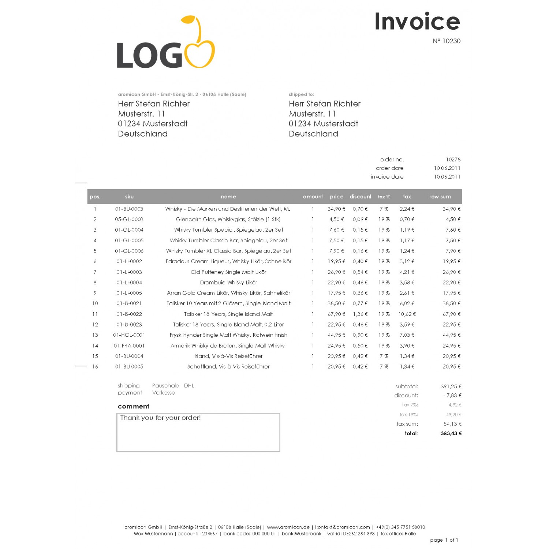 invoice pdf pro windowinvoice rechnungstemplates. Black Bedroom Furniture Sets. Home Design Ideas