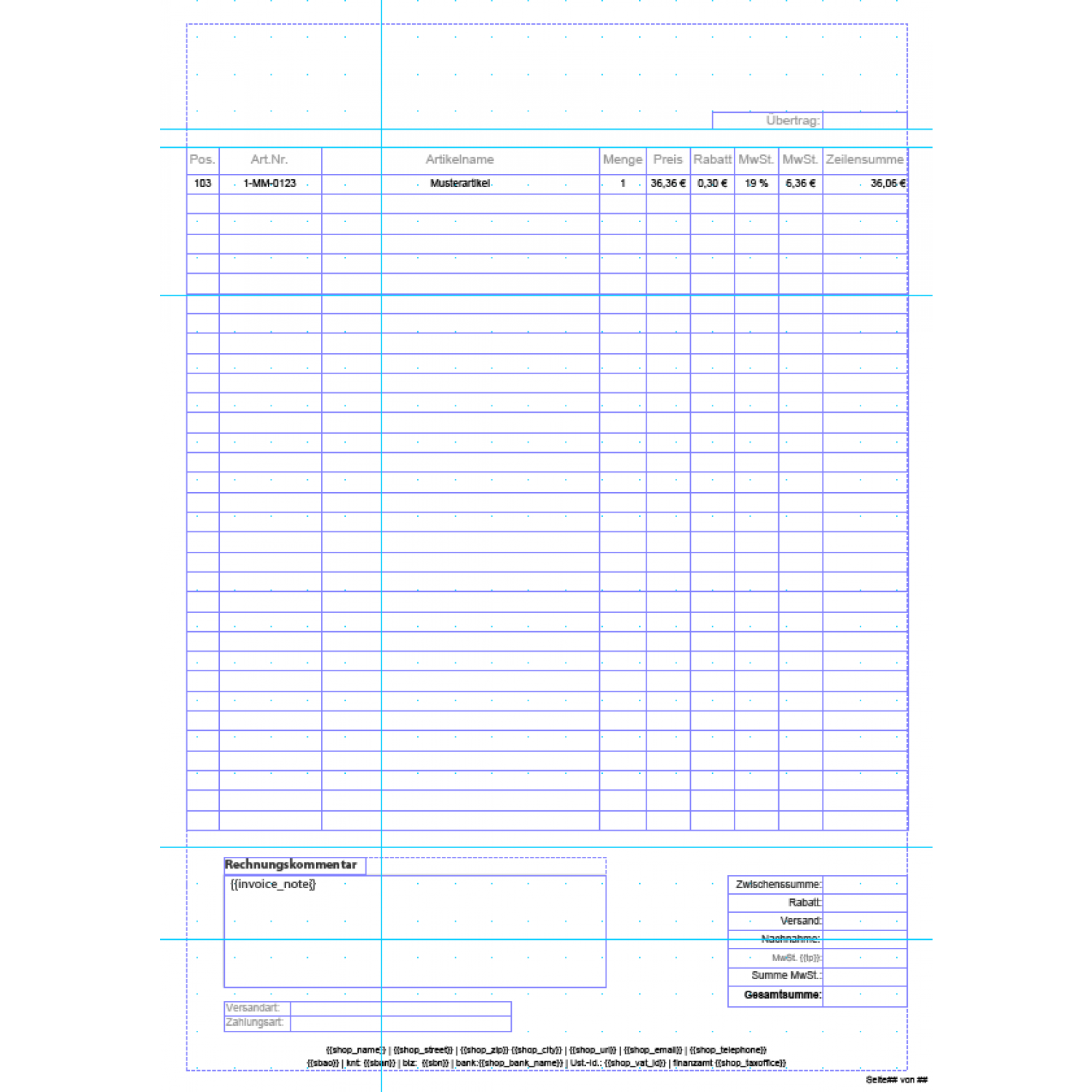 standard invoices template