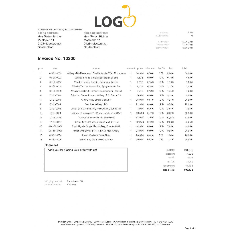 Invoice Pdf Pro Standard Invoice Template English Aromicon Agentur - Invoice template english
